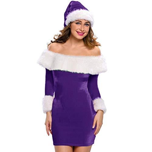 Luckycat WeihnachtsDamen Schulterfrei Langarm Minikleider Santa Claus Bodycon -