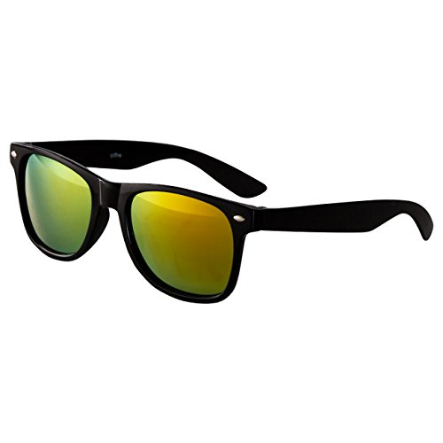 EL-Sunprotect® Sonnenbrille Nerdbrille Brille Nerd Feuer Verspiegelt Schwarz Mirror UV400