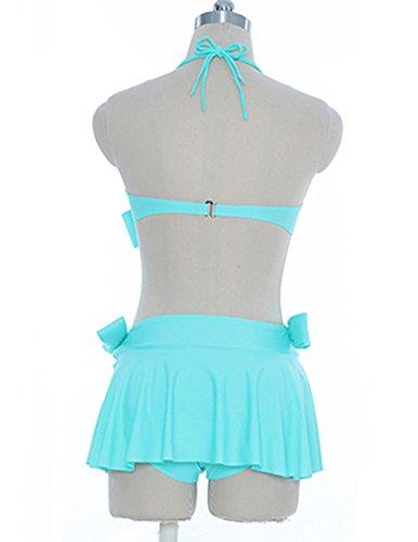 Damen Elegante Bowknot Mit Dreieck Slip Hochdrücken Einfarbig Bikini Bademode Rückenfrei Strandkleidung Blauer See3