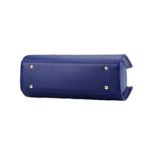 Myleas 2017 Womens Summer Pure Colore Pu Tote borse in pelle borsa Top Handle Handbag Blu