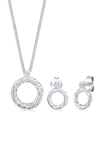 Diamore Schmuckset Twisted Liebe Diamant (0.06ct) 925 Sterling Silber