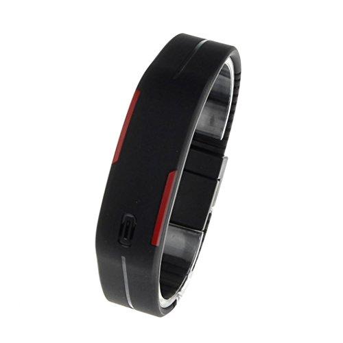 ultra sottile uomini ragazza sport silicone digitale LED sport bracciale orologio da polso (Nero)