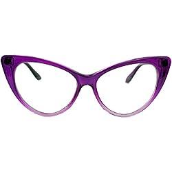 50er Jahre Damen Brille Cat Eye Nerdbrille Klarglas Brillengestell FARBWAHL KE (Purple Ombre)