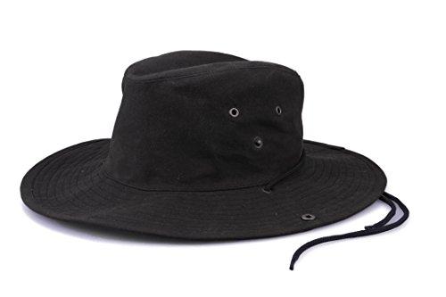 Krumba Herren Baumwolle Braun Oilskin Draussen Wasserdicht Löffel Hut schwarz Größe 2XL/3XL Schwarze Outdoor Hut