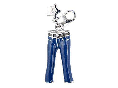 Tingle London Damen-Schmuckanhänger Silber Emaille Blau Jeans Karab Verschluss (Antike Kostüm Schmuck London)