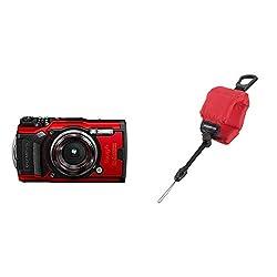 Olympus Tough TG-6 Digitalkamera (12 MP, 25-100mm 1: 2, 0 Objektiv, GPS, Manometer, Temperatursensor, Kompass) rot & CHS-09 schwimmende Kamerahandschlaufe