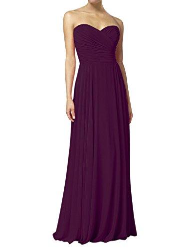 HWAN Frauen eine Linie Schatz Lange Kleid Brautjungfer Abendkleider Plum