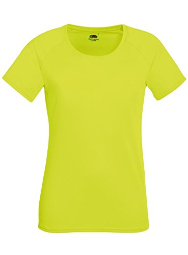 Fruit of the Loom Damen T-Shirt Performance T Lady-Fit Bright Yellow