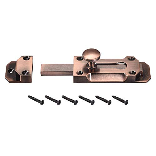 ZCHXD Barrel Slide Door Bolts, 3-inch Antique Zinc Alloy Security Latch Lock (Red Bronze) -
