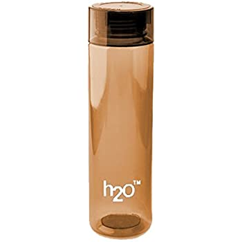 H2O Plastic Water Bottle, 1 Litre, Brown