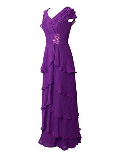 Dressystar Robe de demoiselle d'honneur/de soirée/de Cérémonie Longue, à Ruchés plongeants, Mancherons, Plissée, à paillettes, en Mousseline Jaune