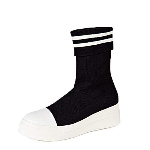 NMERWT Damen Stiefel Schwarz Weiß Farbabstimmung Flache Stiefel mit Niedrigem Absatz Klassische Stiefeletten Frauen Booties Elastische Socken Stiefel Dicker Boden Boots