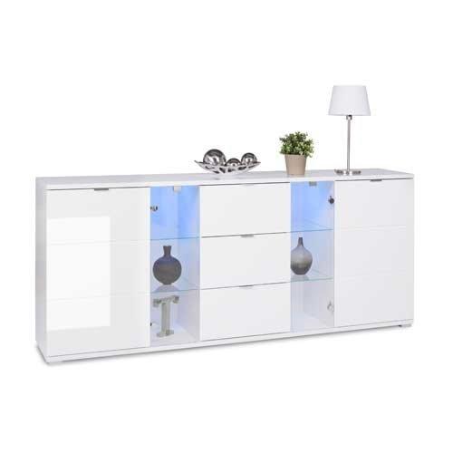 Sideboard in weiß Hochglanz, chromatierte Metallgriffe, wendbare Rückwände, Füße silber lackiert,Maße: B/H/T ca. 200/85/40 cm - 3