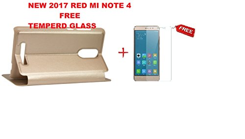 Sun Tigers Window Leather Finish Textured Flip Cover for Xiaomi Redmi Note 4+Free tempered Glass (GOLD)
