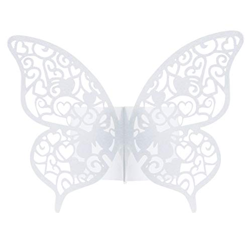 Dokpav 50 Stück Schmetterling Papier Serviettenring für Hochzeit, Taufe, Kommunion, Graduierung, Geburtstag, Weihnachten, bankett Party Tischdekoration (Weiß)