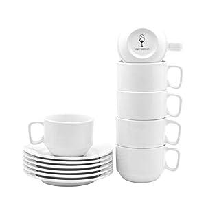 Argon Tableware Set con Tazza Impilabile/Piattino, di Colore Bianco, da 200 ml - 6 Tazze e 6 Piattini