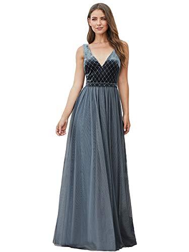 Ever-pretty vestito da festa donna tulle velluto linea ad a scollo v senza maniche lungo dusty navy 42