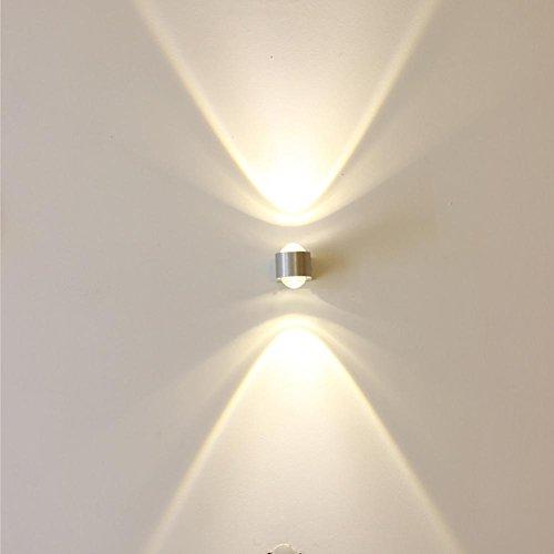 DENG Lampe Murale LED Aluminium Semi Circulaire E14 lumières Géométrique Intérieure 2w (Température de Couleur: 2700-6500k), White