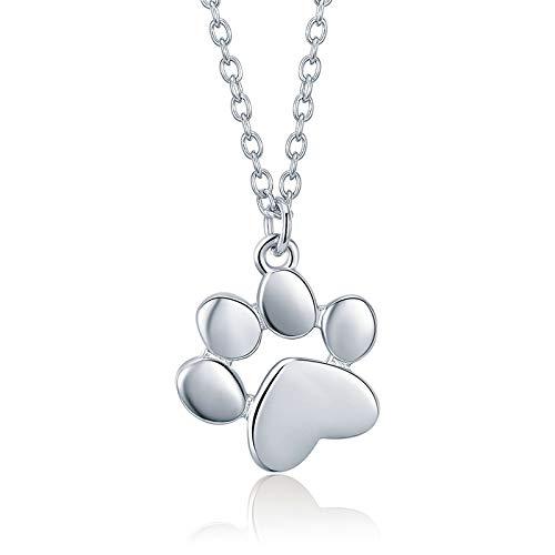 Collana in argento Sterling 925 con ciondolo a forma di impronte di zampe di cane o gatto e Argento, cod. 1