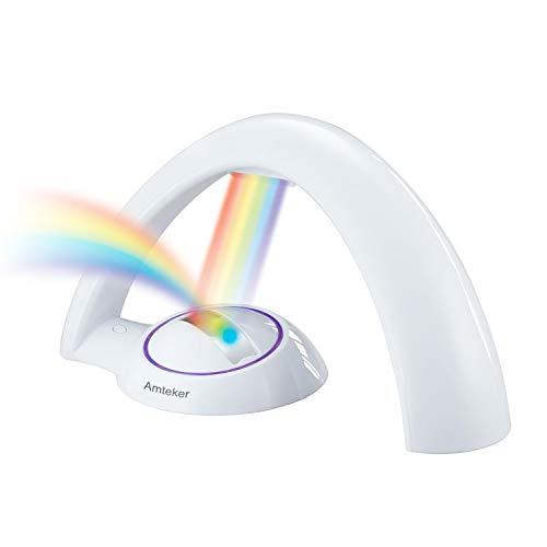Amteker Rainbow Proyector Luz LED Reflexión, Luz Colorida Mágica del Arco iris, Proyector Infantil Luz - Afortunado Arco iris - Regalo para Niños