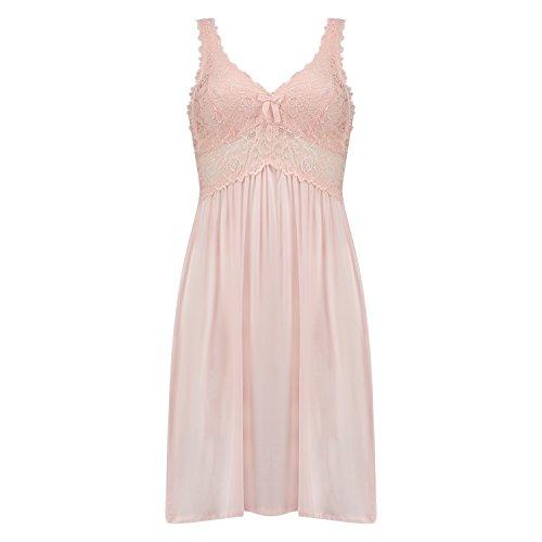 Hunkemöller Damen Slipdress Modal Lace 112486 Rose S