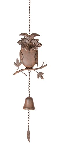 Cloche avec figurine Hibou en métal à suspendre
