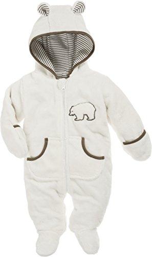 Schnizler Baby Fleece-Overall, atmungsaktiver Unisex-Jumpsuit für Jungen und Mädchen mit langem Reißverschluss und Kapuze, mit Bär-Stickung -