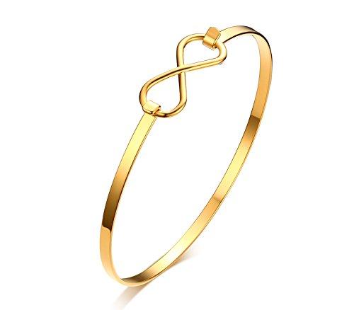 Vnox Damenmädchen Dünn Edelstahl Infinity Love Cuff Armreif Gold,60 mm Durchmesser (Gold Armbänder Dünne Armreifen)