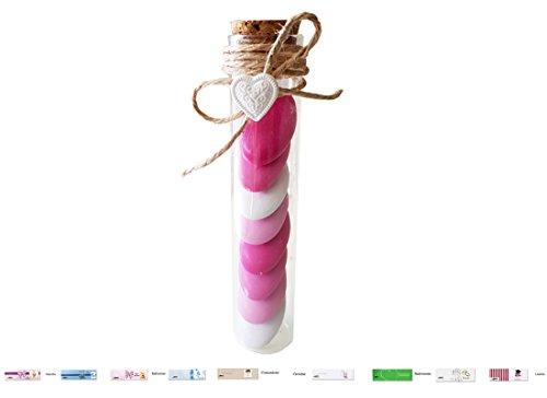 Kit 24 provette 11,5 + gessetti cuoricini co151 + confetti + juta + bigliettini (selection ciocc rosa)