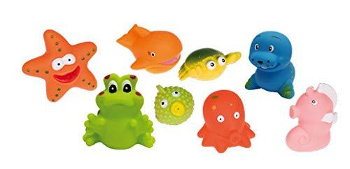 Idena 40457 Badetiere im Beutel, 8 verschiedene Figuren mit Spritzfunktion, Badewannenspielzeug für Kinder und Babys, ca. 8 x 6 x 6 cm
