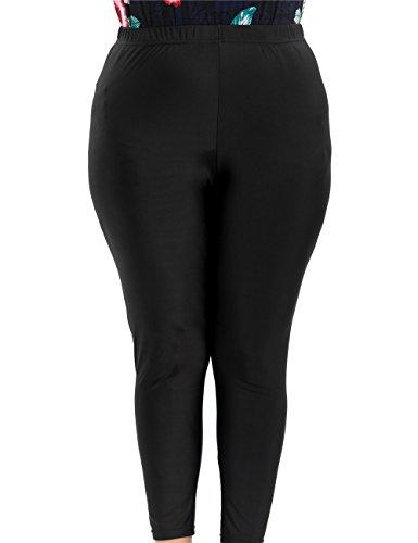 Chicwe Damen Strecken Große Größen Leggings In voller Länge Schwarz 2X (Petite-jersey Taille Elastische)