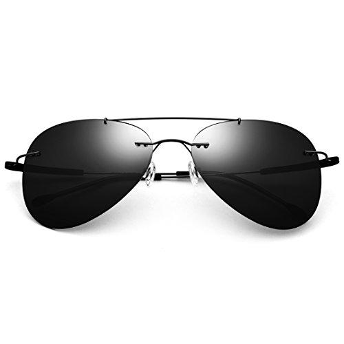 LBY rahmenlose Sonnenbrille Herren polarisierte Sonnenbrille Ultra Light Brille Damen Tide Spiegel Herren Sonnenbrille Black Frame/Gray Lens