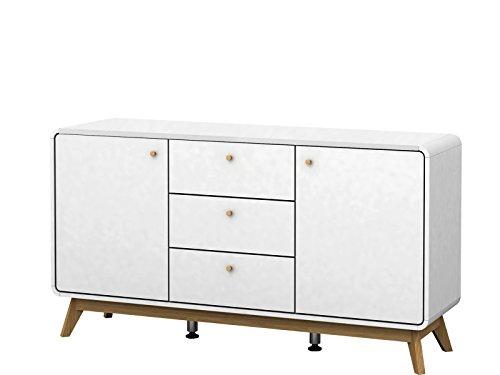 Loft24 Carmen Sideboard Kommode Schrank Anrichte Schubladenkommode 3 Schubladen Skandinavisches Design Retro weiß 140x39x75,2 cm