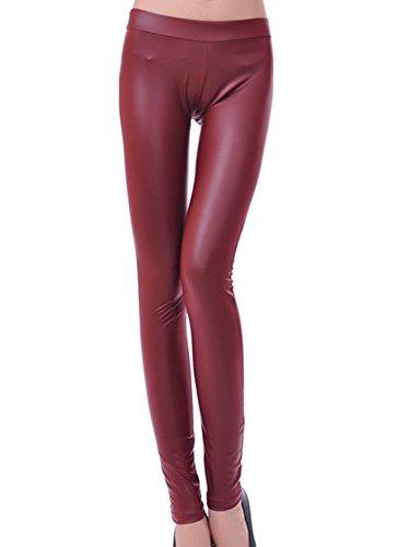 Leggings Mujer Pantalones Elásticas Calientes Leggins De La Cintura Alta Treggings Cuero De Imitación Vino rojo L