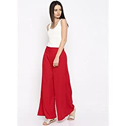 Rigoglioso Women's Relaxed Palazzo (RIGPLZRED_Red_XX-Large)