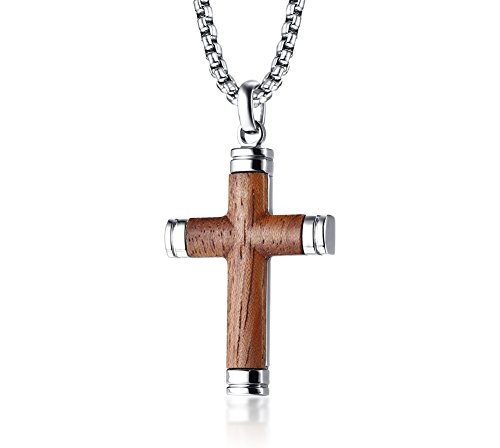 "Vnox Zweifarbige Edelstahl Brasilien Palisander Holz Christian Taufe Jesus Kreuz Anhänger Halskette für Männer, 24\"" Rolo Kette"