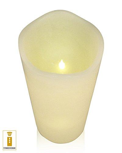A la luz de la decoración de LED de cera de la vela de 15 x 30 cm con temporizador y mando a distancia de marfil