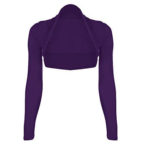 WearAll - Damen Übergröße Einfarbig Langarm Bolero Jäckchen Top - 7 Farben - Größe 44-50 Lila