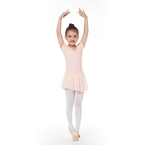 Kinder Kurzarm Ballettkleid aus Baumwolle mit Chiffon Kleider Ballett Trikot Turnanzug für Mädchen Rosa 140