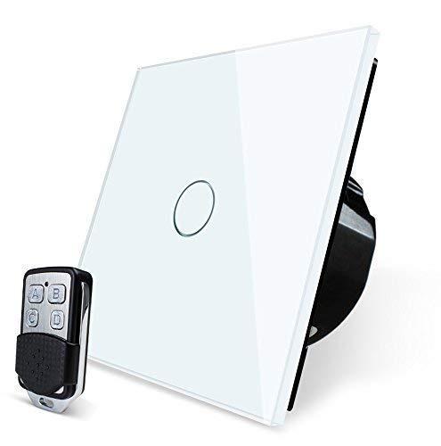 Wallpad 3Farben Glas Panel Touch-Sensor Fernbedienung Wandschalter, 1?1000W Lampen geeignet - 5-580W Remote Control Dimmer Switch - weiß -