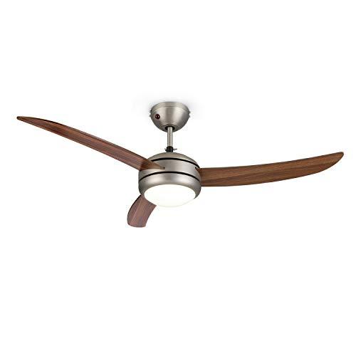 Klarstein El Paso • Ventilateur Plafond • Diamètre 52' (132 cm) • Plafonnier intégré • 3 pales, 3 Vitesses • 2 Sens...