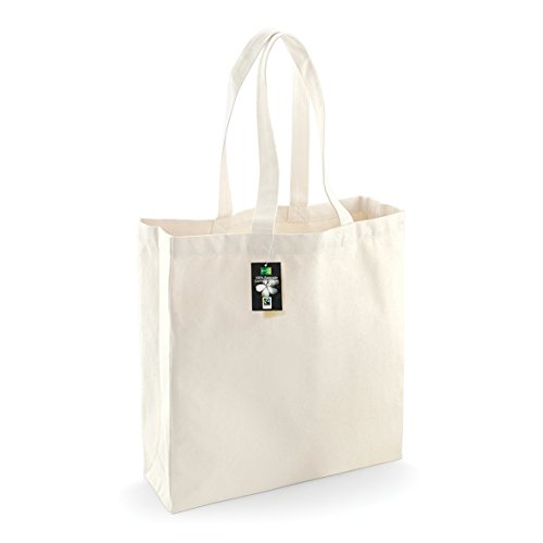 Westford mill - classica borsa shopper in cotone fairtrade (taglia unica) (naturale)