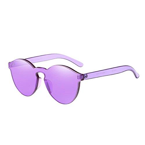 Brillen Damen AMUSTER Frauen Mode Brillen Katzenaugen Sonnenbrille Integrierte UV Mehrfarbig Sonnenbrille Unisex Aviator Sonnenbrille Round Metal Sonnenbrille (Free size, Violett)