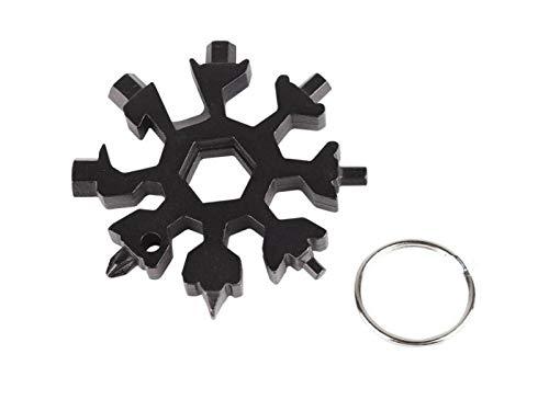 Fougnogkiss 18-in-1 Edelstahl-Multifunktionswerkzeug, tragbar, Schneeflocken-Schlüsselanhänger, Schraubendreher, Flaschenöffner, unglaubliches Werkzeug, Basteln, Ornamente, Schwarz , 6.3x0.8cm