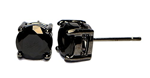 JEWELS Fashion Stainless Steel 7 different sizes Round Solitaire Sparkling Crystal Black Diamond & Black color rhodium plating Unisex Men's Earrings - Stainless 7