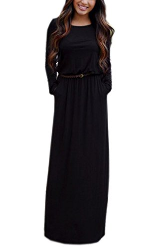 Minetom Robes Femme Longues Maxi Sexy Col Rond Robe Casual Manche Longue Pencil Cocktail Party Robe Noir