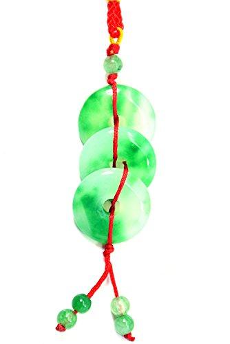 Chino Feng Shui verde Jade y rodio bolso de mano símbolo Encanto Colg