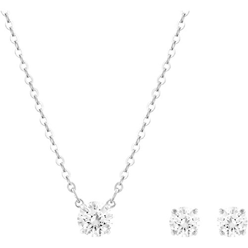 Swarovski Set Attract Round, bianco, placcatura rodio