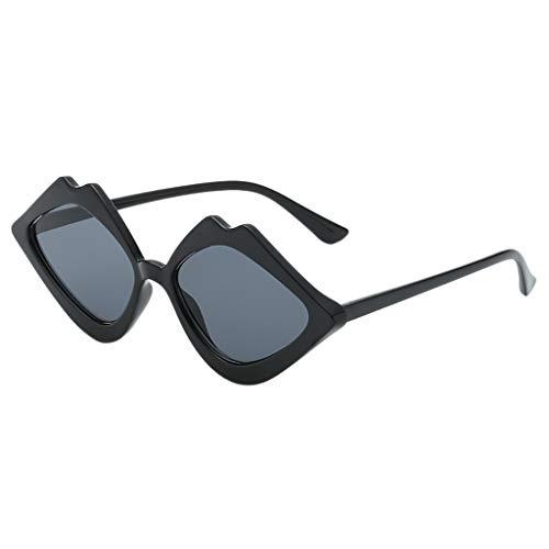Hhyyq Frau Lippenform Unregelmäßige Sonnenbrillen Sonnenbrillen Mode Klassisch Retro Wild Trend Strandspiegel Flachen Spiegel Sonnenbrille Uv-Schutz(B)