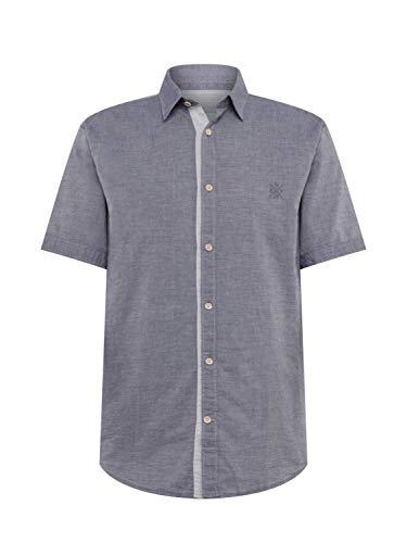 TOM TAILOR für Männer Blusen, Shirts & Hemden Kurzärmliges Hemd Navy Two face Chambray, XXL -